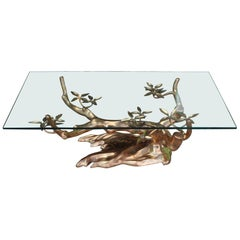 Willy Daro Mid-Century Modern Brass Tree Cocktail Table