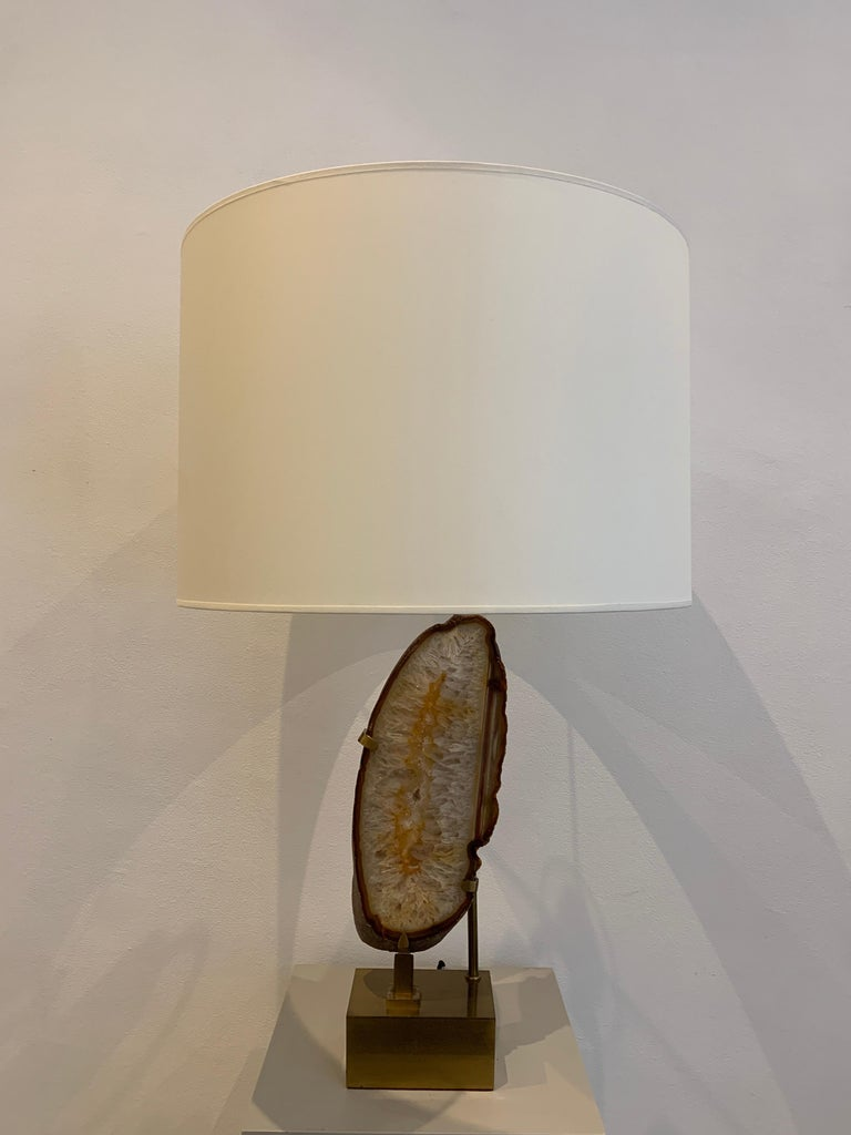 Late 20th Century Willy Daro Mounted Stone Table Lamp, 1970s For Sale