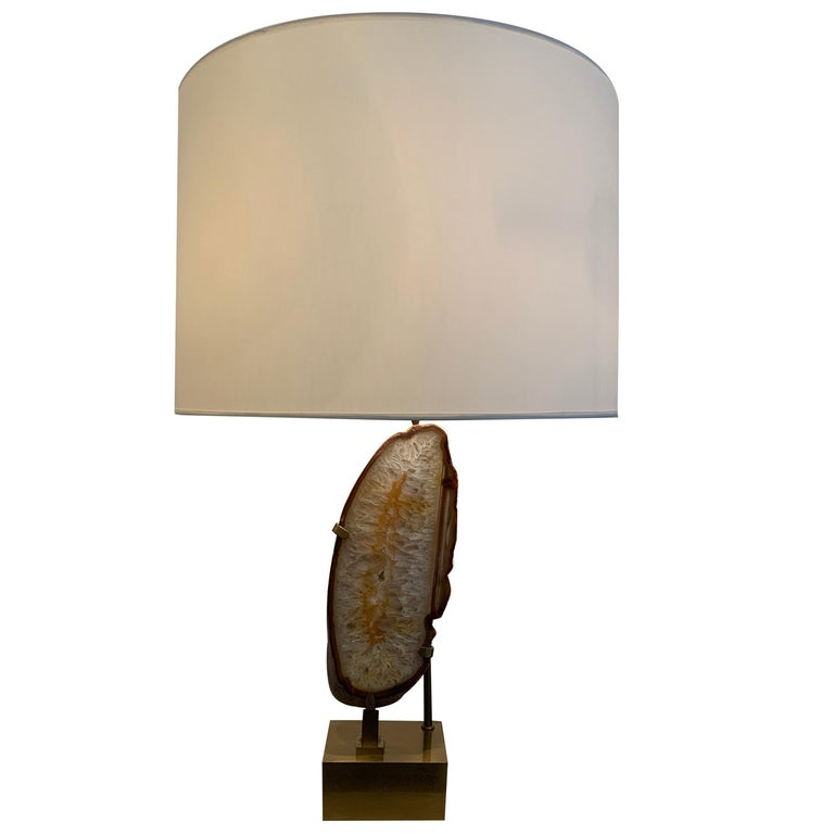 Willy Daro Mounted Stone Table Lamp, 1970s For Sale