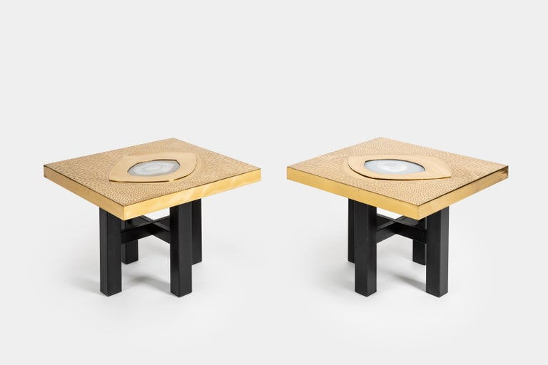Pair of square side tables composed of lacquered and acid etched patinated brass with inlaid agate tops on enameled steel legs with stretchers, Belgium, 1970s. Beautifully graphic etched designs with Incised signature on each tabletop 'Willy Daro'.