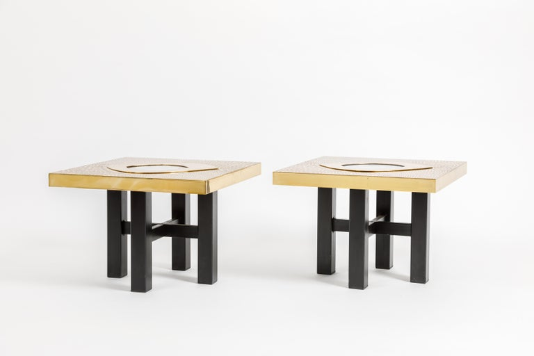 Mid-Century Modern Willy Daro Pair of Brass and Agate Side Tables For Sale