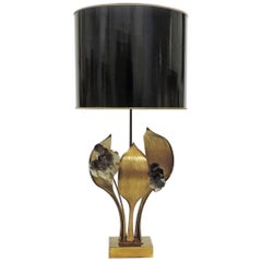 Willy Daro Rock Crystal and Bronze Flower Table Lamp, Belgium, 1970s