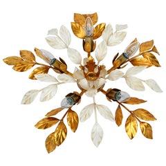 Willy Daro Style Belgium Brass & Enamel Flower Flush Mount in Gold White Finish