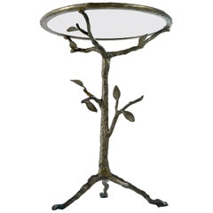 Willy Daro Style Cast Bronze Leaf Tree French Gueridon Side Table