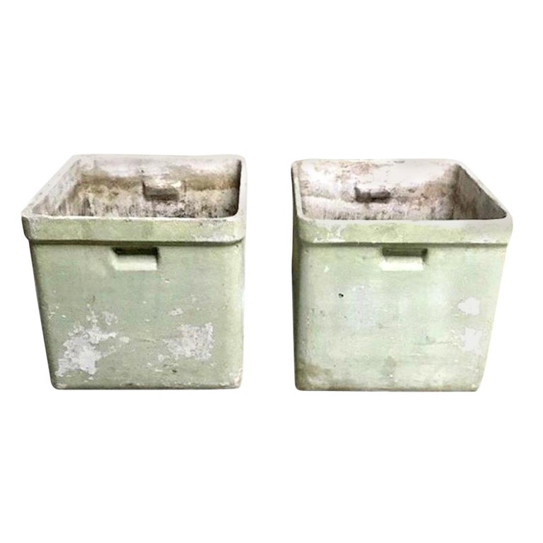 Great pair of box planters by Willy Guhl for Eternit. Great design. Green coloring and patina. Perfect scale. Two available. Priced individually.
