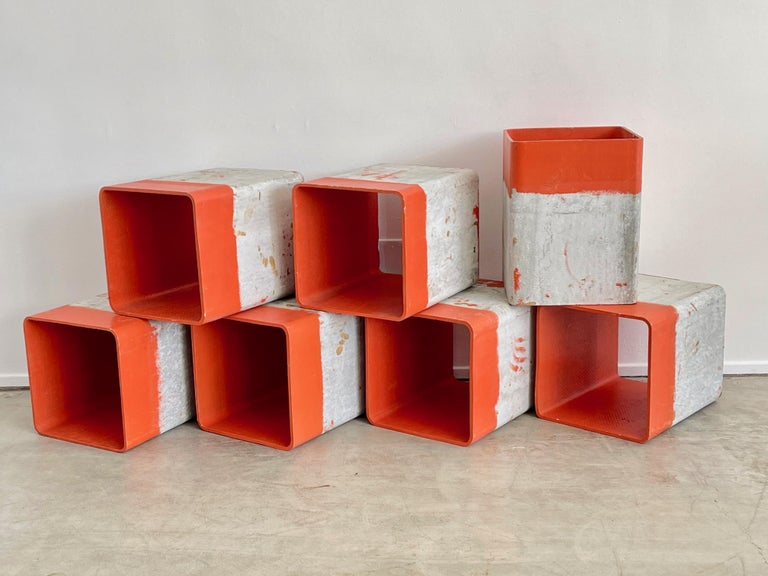 Willy Guhl open cubes customized with bright orange painted interiors Great as object / bookshelf / or retail display!