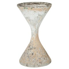Willy Guhl Diabolo Planter, in Cement, Switzerland 1960, Old Patina, Grey Color