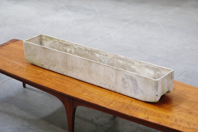 Willy Guhl for Eternit Extra-Long Rectangle Concrete Outdoor Planter, circa 1968 For Sale 4