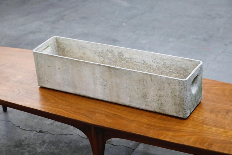 Willy Guhl for Eternit Large Rectangle Concrete Outdoor Handle Planter For Sale 2