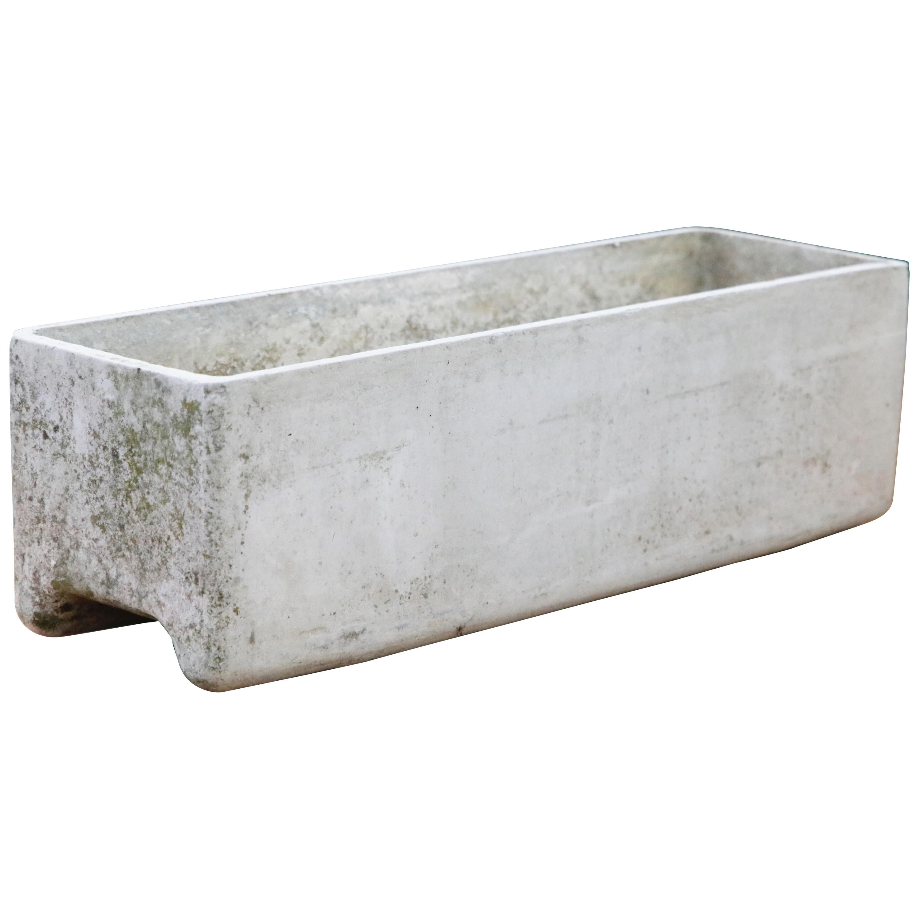 Willy Guhl for Eternit Large Rectangle Concrete Outdoor Planter, 1968, Signed