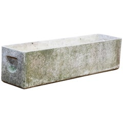 Willy Guhl for Eternit Rectangle Concrete Outdoor Handle Planter, circa 1968