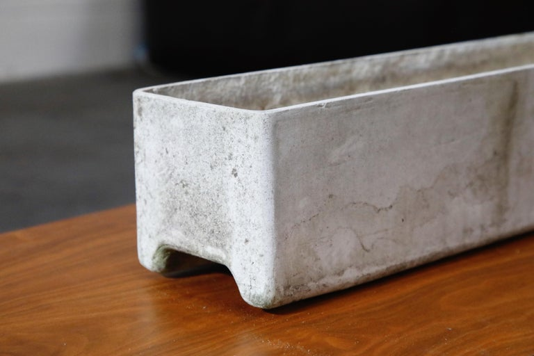 Willy Guhl for Eternit Rectangle Concrete Outdoor Planter, 1970s, Signed For Sale 4
