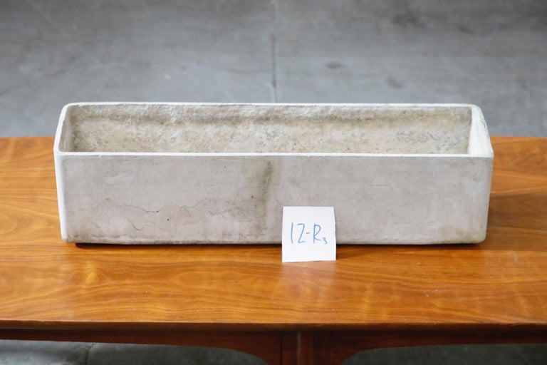 Willy Guhl for Eternit Rectangle Concrete Outdoor Planter, 1970s, Signed For Sale 11