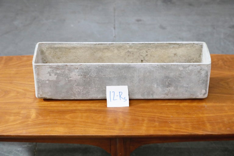 Willy Guhl for Eternit Rectangle Concrete Outdoor Planter, 1970s, Signed For Sale 13