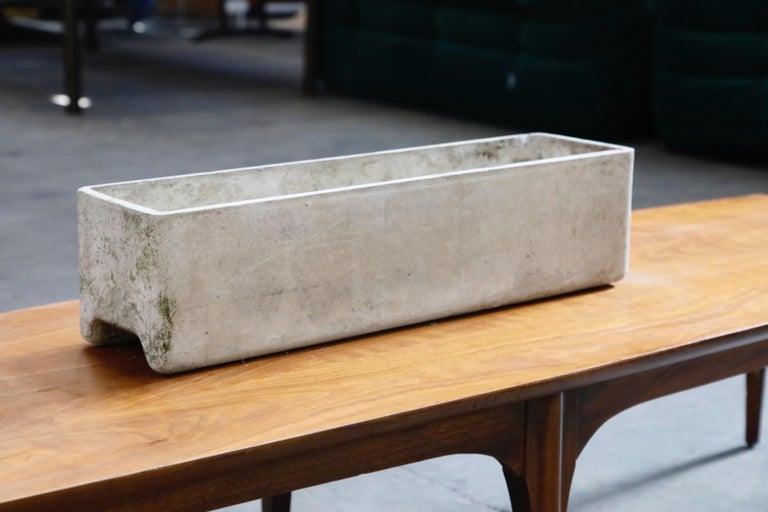 Mid-Century Modern Willy Guhl for Eternit Rectangle Concrete Outdoor Planter, 1970s, Signed For Sale