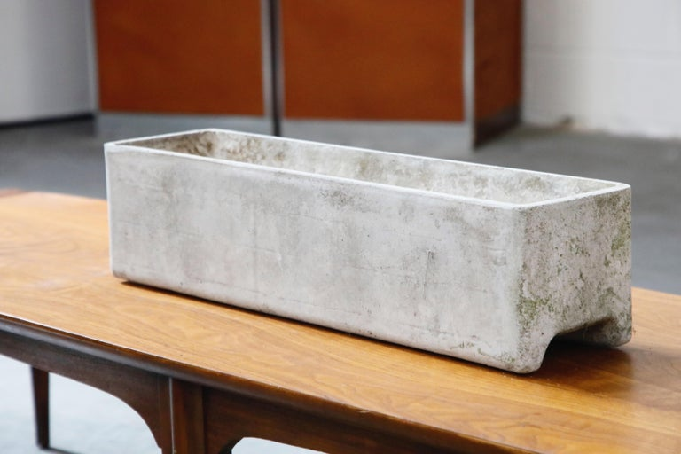 Swiss Willy Guhl for Eternit Rectangle Concrete Outdoor Planter, 1970s, Signed For Sale
