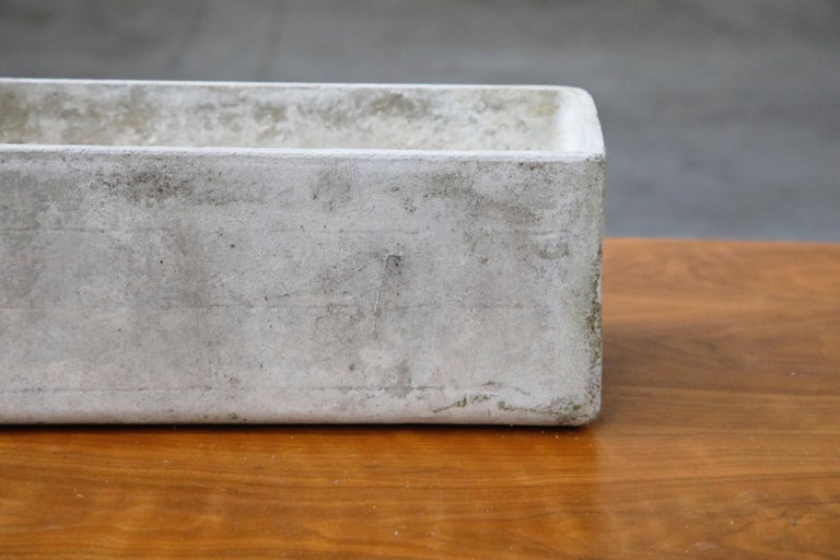 Willy Guhl for Eternit Rectangle Concrete Outdoor Planter, 1970s, Signed For Sale 2