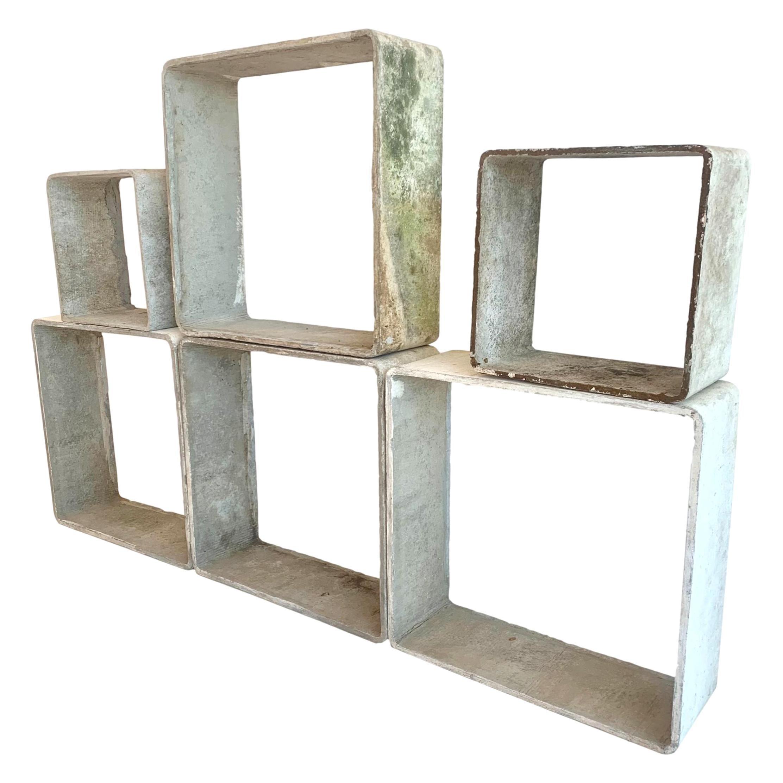 Willy Guhl Modular Cement Cube Bookcase