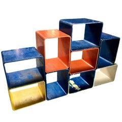 Willy Guhl Modular Nine-Piece Multi-Color Bookcase