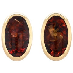 Willy Jagert for Halberstadt Amber 14 Carat Yellow Gold Clip-On Earrings