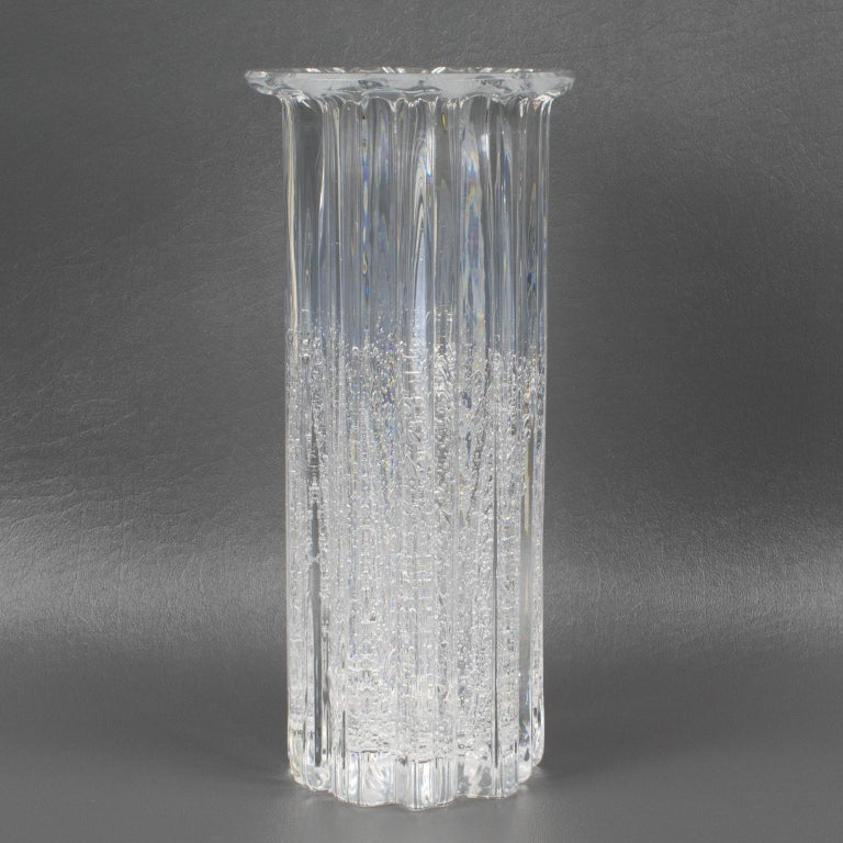 Beautiful Willy Johansson (1921 - 1993) for Hadeland Glassverk, Norway art glass tall vase. Smooth to the touch, but the appearance looks heavily textured with its ribs and bubbles trapped in glass. From the