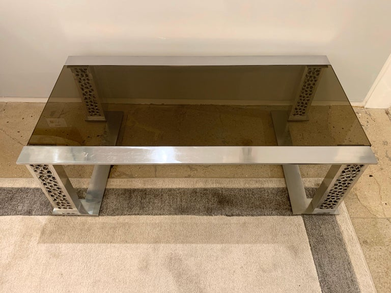 Late 20th Century Willy Luyckx Aluclair Belgian 1970s Sculptural Table For Sale