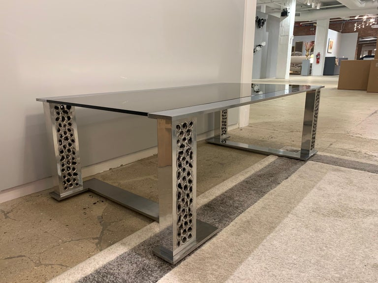 Aluminum Willy Luyckx Aluclair Belgian 1970s Sculptural Table For Sale