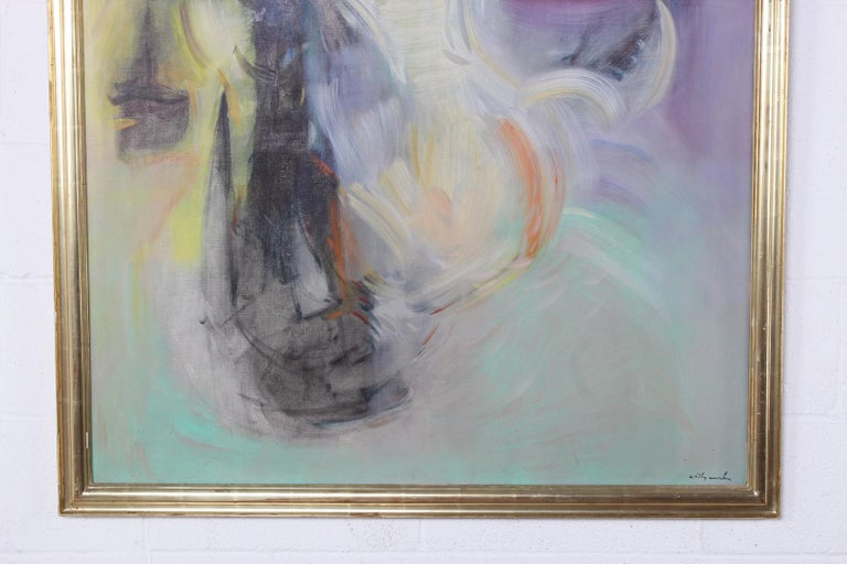 Willy Mucha Abstract Painting, 1950s In Good Condition For Sale In Dallas, TX