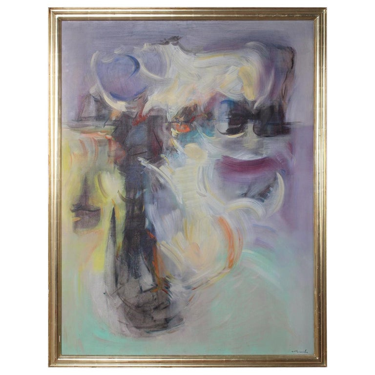 Willy Mucha Abstract Painting, 1950s For Sale