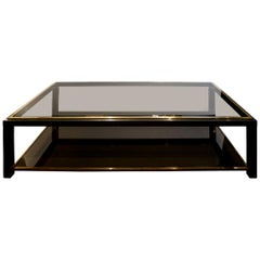 Willy Rizzo 2-Tier Coffee Table in Gunmetal and Brass, 1960s
