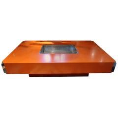 Willy Rizzo, Alveo Orange Lacquered & Steel Midcentury Italian Coffee Table 1970