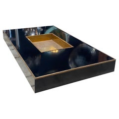 """Willy Rizzo """"Alveo"""" Rectangular Black Wood Brass Coffee Table, Italy, 1970s"""