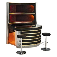 Willy Rizzo Bar Cabinet in Black Suede