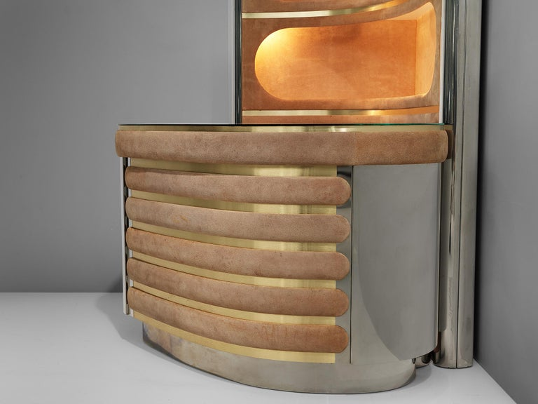 Willy Rizzo Bar Cabinet in Brown Suede For Sale 3