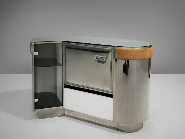 Willy Rizzo Bar Cabinet in Brown Suede For Sale 4