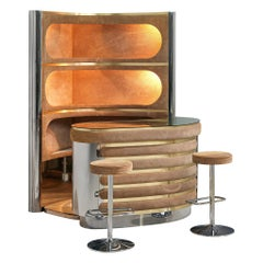 Willy Rizzo Bar Cabinet in Brown Suede