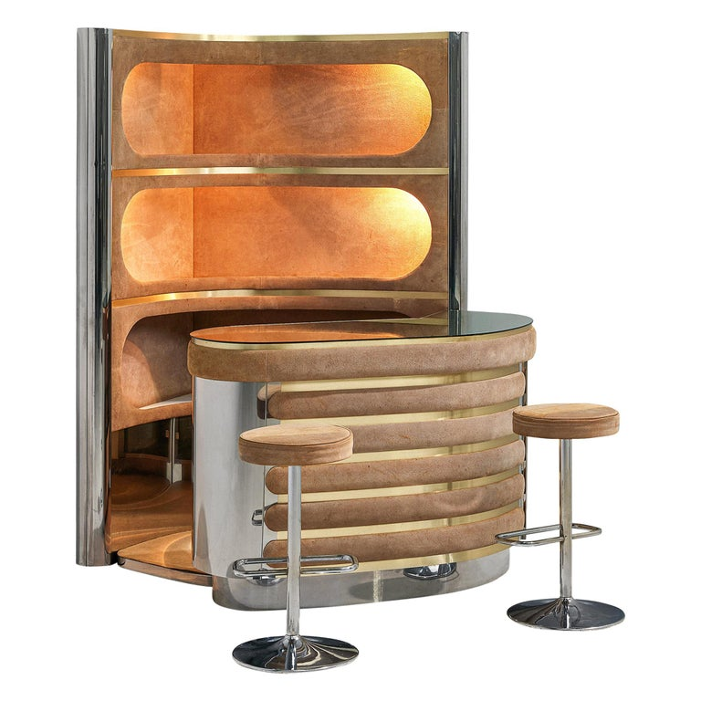 Willy Rizzo Bar Cabinet in Brown Suede For Sale
