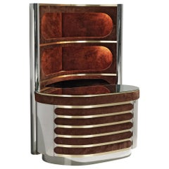 Willy Rizzo Bar Cabinet in Metal and Brown Suede