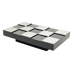 Willy Rizzo Black Lacquer and Brushed Steel Coffee Table, 1970s