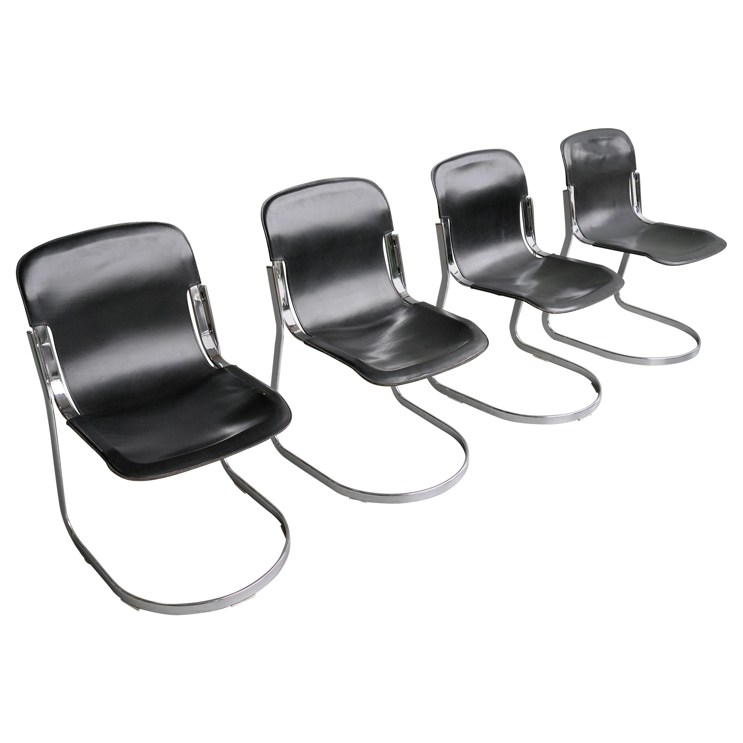 Willy Rizzo Black Sling Leather and Chrome Chairs for Cidue, Italy, 1970s