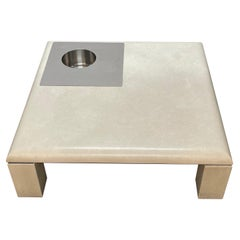 Willy Rizzo Botticino White Marble and Steel Square Italian Coffee Table, 1970s