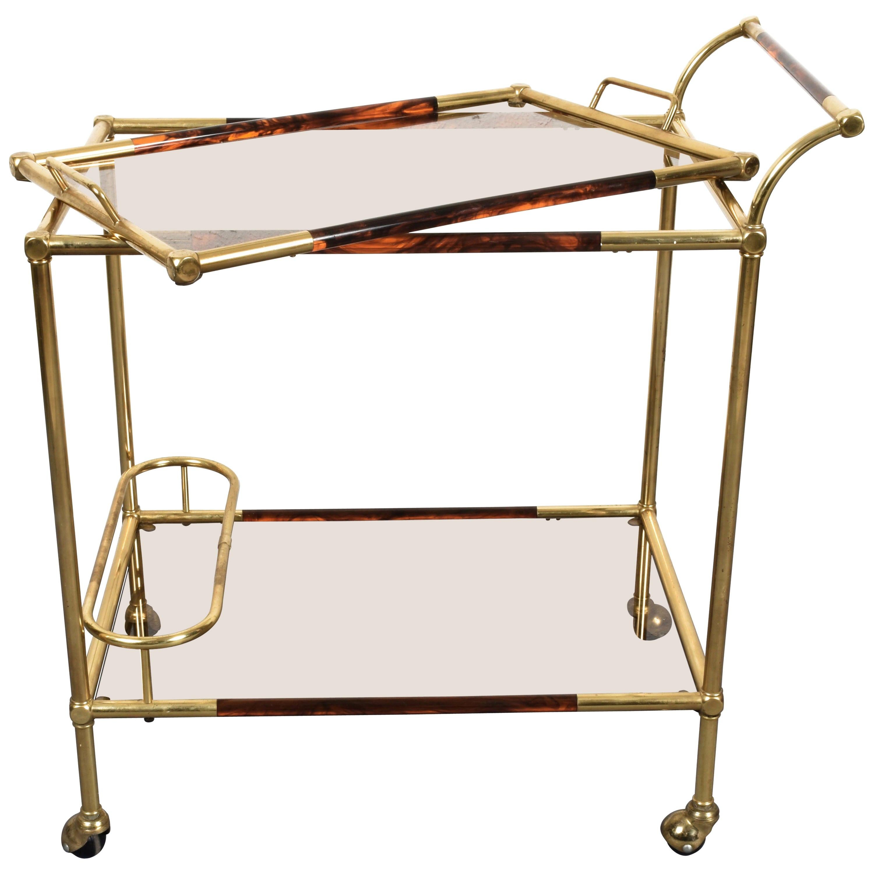 Willy Rizzo Brass and Lucite Tortoise Italian Trolley with Service Tray, 1980s
