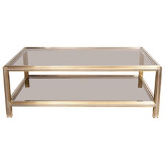 Willy Rizzo Brass & Chrome Coffee Table, c.1970