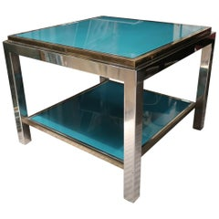 Willy Rizzo, Brass, Chromed and Turquoise Glass Top Coffee Table, Italy, 1970