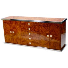 Willy Rizzo Burl Chrome and Brass Credenza, 1970s