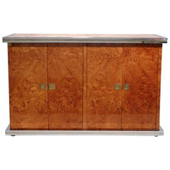 Willy Rizzo Burl Chrome and Brass Small Credenza, 1970s