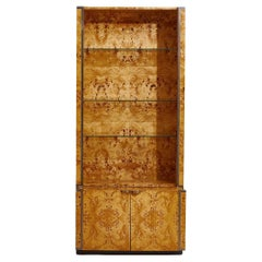 Willy Rizzo Burl Wood Bookcase, France, 1970