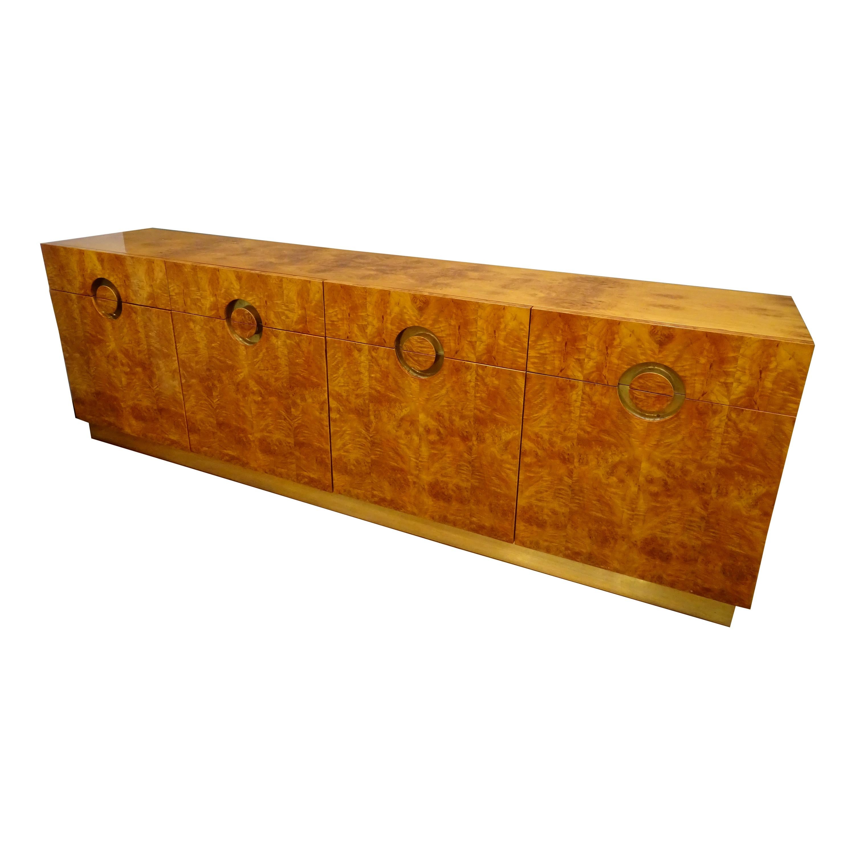 Willy Rizzo Burlwood and Brass Sideboard, 70s, Golden  Brass