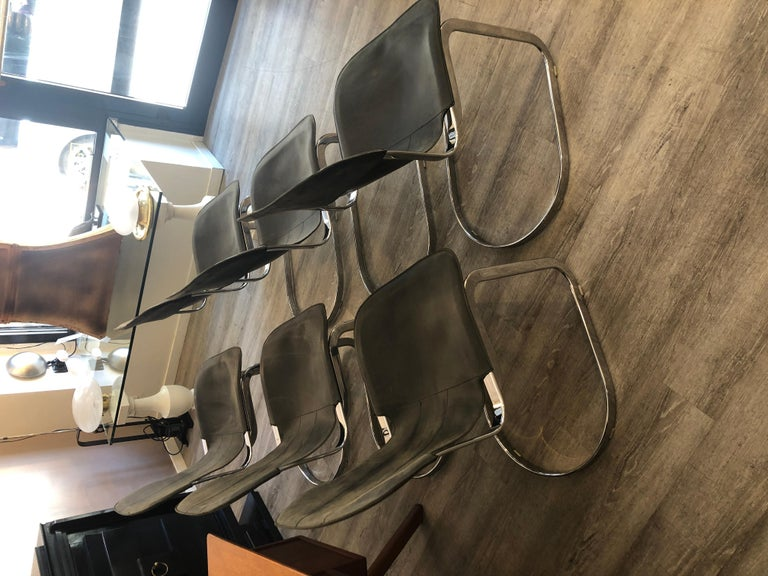 Willy Rizzo C2 70s Production Chromed Steel Frame Gray Vintage Leather Set of 6 For Sale 4