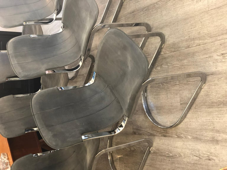 Modern Willy Rizzo C2 70s Production Chromed Steel Frame Gray Vintage Leather Set of 6 For Sale